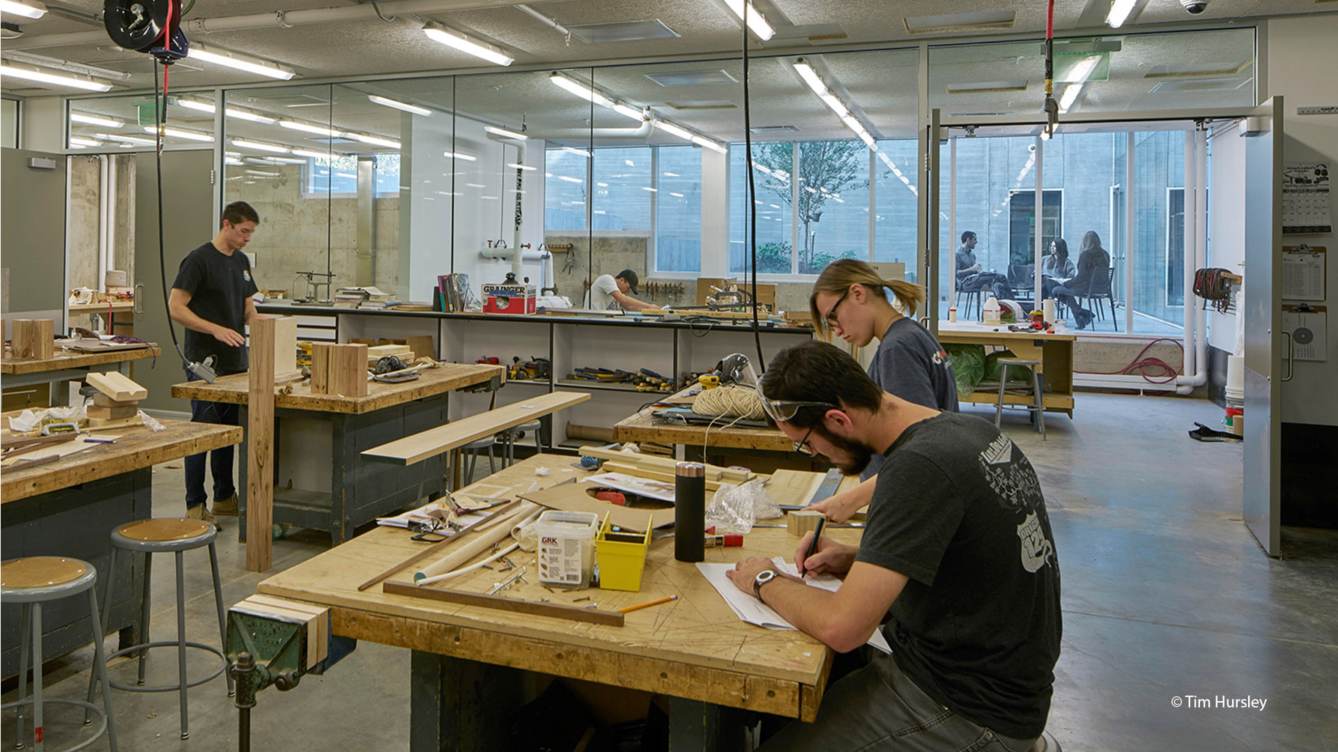Students working in the APDesign Shop