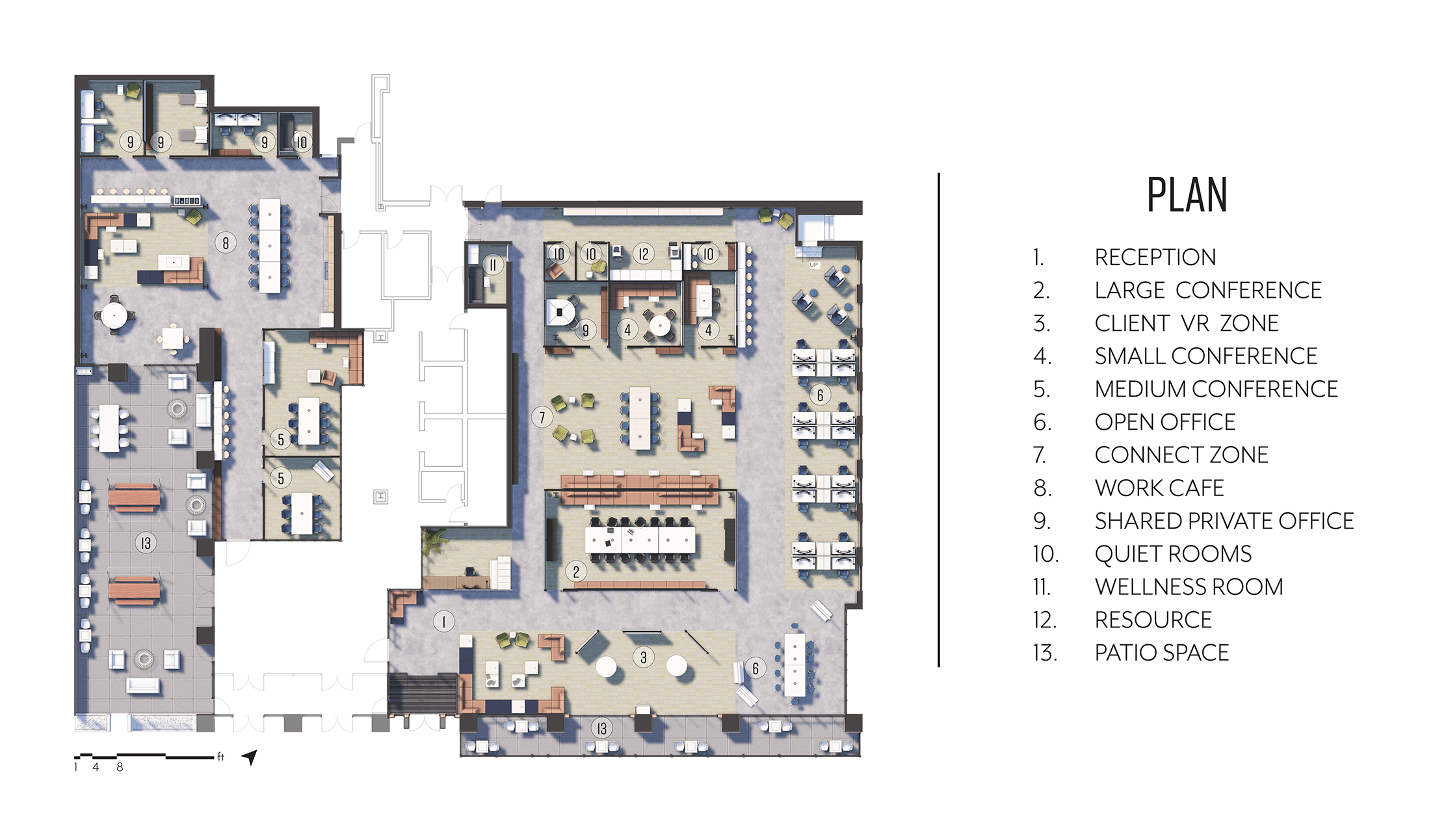 K-State College of Architecture, Planning and Design (APDesign); Interior Architecture and Product Design (IAPD); interior architecture, interior design student work by Kanoa San Miguel; Real Estate and Project Management Interior Design, Floor Plan
