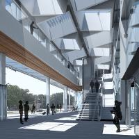 Thomas Crane's Station East project in Lawrence Kansas. Finalist in the 2015 Manko Design Competition. Prof. Genevieve Baudoin's studio.